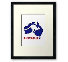 Australia map kangaroo Framed Print