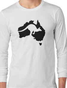 Australia map kangaroo Long Sleeve T-Shirt