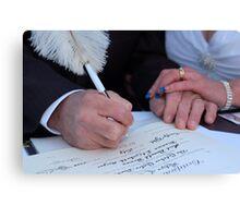 Signing his life away Canvas Print