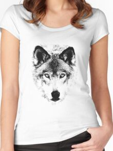 Wolf Face. Digital Wildlife Image. Women's Fitted Scoop T-Shirt