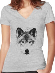 Wolf Face. Digital Wildlife Image. Women's Fitted V-Neck T-Shirt