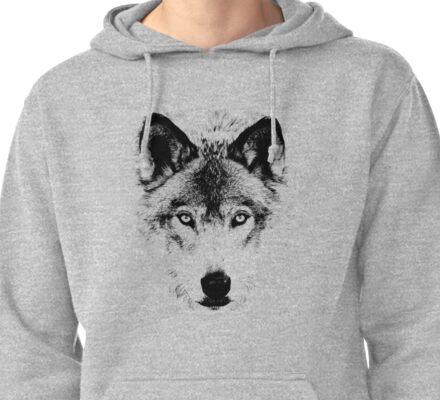 Wolf Face. Digital Wildlife Image. Pullover Hoodie