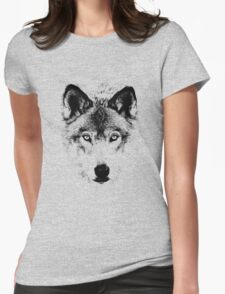 Wolf Face. Digital Wildlife Image. Womens Fitted T-Shirt