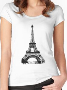 Eiffel Tower Digital Engraving Women's Fitted Scoop T-Shirt