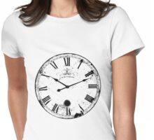 Antique and Vintage Clock Digital Engraving Image Womens Fitted T-Shirt