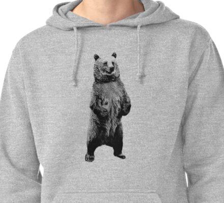 Bear Standing Up. Wildlife Digital Engraving Image Pullover Hoodie