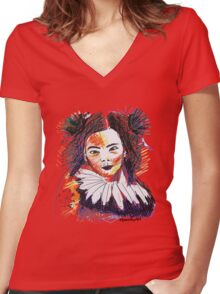 Colourful Bjork Women's Fitted V-Neck T-Shirt