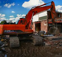 JCB & partially demolished building by OurKev