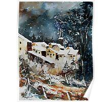 Watercolor vivy village belgium Poster
