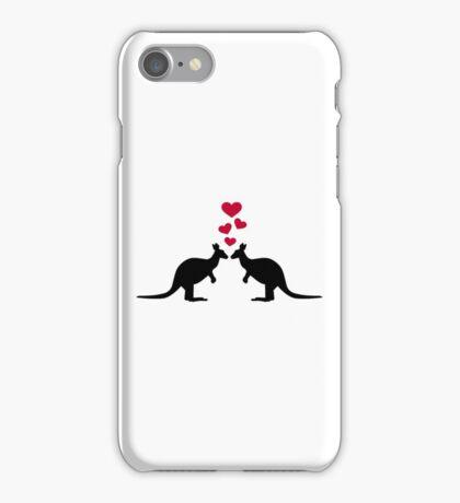 Kangaroos red hearts love iPhone Case/Skin