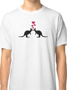 Kangaroos red hearts love Classic T-Shirt