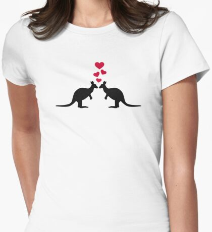 Kangaroos red hearts love Womens Fitted T-Shirt