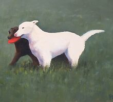 labrador retrievers with red frisbee by PhyllisGAndrews