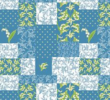 Lily-of-the-Valley Faux Patchwork Pattern on Blue by helikettle
