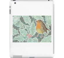 Robin and frosted holly in winter iPad Case/Skin