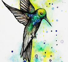 Watercolour Hummingbird by WhatIfIAmInsane