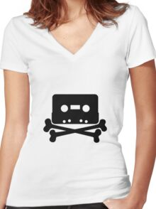 Cassette Jolly Roger Women's Fitted V-Neck T-Shirt