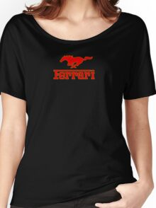 Ferrari Mustang Parody - Red / Yellow Women's Relaxed Fit T-Shirt