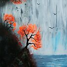 Waterfall with Birds by George Hunter