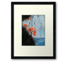 Waterfall with Birds Framed Print