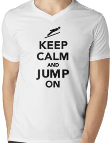Keep calm and jump on Mens V-Neck T-Shirt