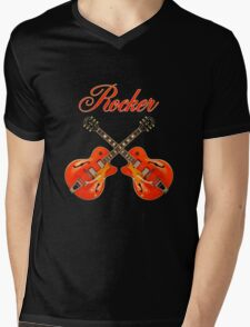 Rocker  Red  Mens V-Neck T-Shirt