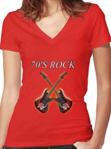 70's Rock Women's Fitted V-Neck T-Shirt