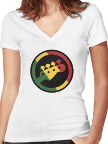 Rasta bass  Women's Fitted V-Neck T-Shirt