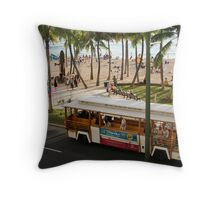 Waikiki Trolley Throw Pillow