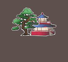 tea house and bonsai tree- home of the blue check pigeon T-Shirt