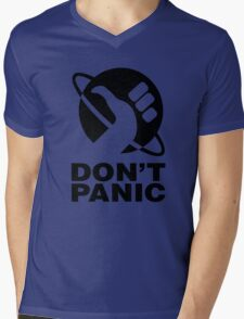 Don't Panic - Hitchhikers Guide Mens V-Neck T-Shirt