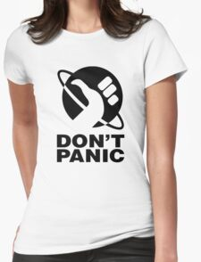 Don't Panic - Hitchhikers Guide Womens Fitted T-Shirt