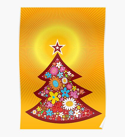Spring Flowers Christmas Tree Poster