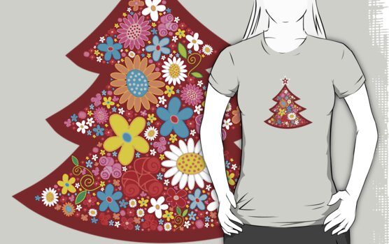 Spring Flowers Christmas Tree T-shirt by fatfatin