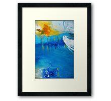 Orange Yellow Blue Abstract Art Print Framed Print