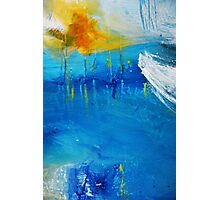Orange Yellow Blue Abstract Art Print Photographic Print