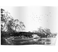 Echuca Wharf Old barge and Paddlesteamer Poster
