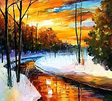 Winter Sunset — Buy Now Link - www.etsy.com/listing/223897433 by Leonid  Afremov