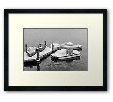 Boats New England Winter Time  Framed Print