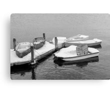 Boats New England Winter Time  Canvas Print