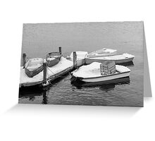 Boats New England Winter Time  Greeting Card