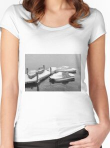 Boats New England Winter Time  Women's Fitted Scoop T-Shirt
