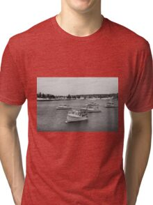 Boats in New England Harbor  Tri-blend T-Shirt