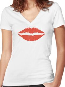 Kiss red lips Women's Fitted V-Neck T-Shirt