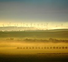 Wind farm at Sunrise by Dominque  Sparks