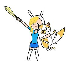 Fionna the human and cake the cat by emmalogic
