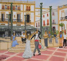 Dancing in The Plaza - Ronda Spain by jackmckenzieart