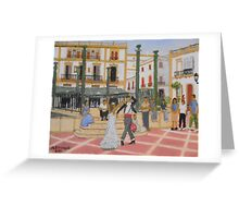 Dancing in The Plaza - Ronda Spain Greeting Card