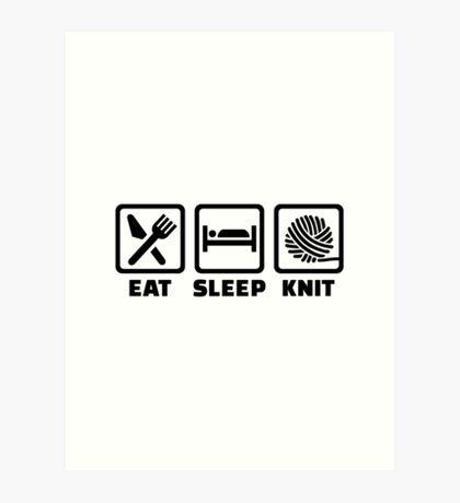 Eat sleep Knit Art Print
