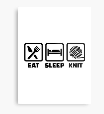 Eat sleep Knit Metal Print